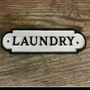 Farmhouse Laundry Cast Iron Door Sign Plaque